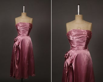 Collector 1940's Dance Original by Fred Pelberg Dress - 1940's Dust Pink Satin Dance Swing Dress - Size Xs