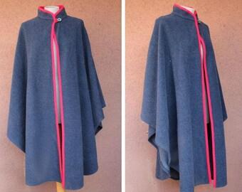 1970's Blue / Grey Wool Cape - 70's Italian Winter Wool Cape