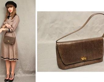 dd1c802aac93 1950 s Brown Lizard Handbag - 50 s Exotic Skin bag