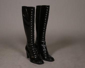 Vintage Dolce and Gabbana Black Label Black Patent LEather Lace up boots - Size Eu40