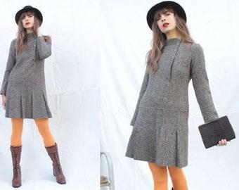 05c1629f9b 1960's Wool Grey Long Sleeve Dress - Size S / M