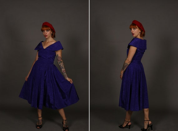 1950's Purple Rayon Cocktail Dress - 50's New Look