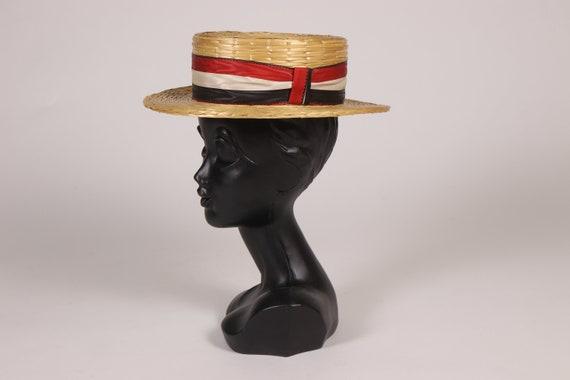 1910s Straw Boater Hat with Red Ribbon