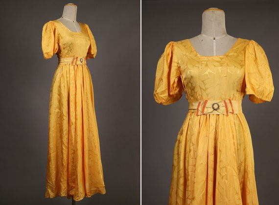 1930's Yellow Rayon Maxi Dress - 30's long Yellow