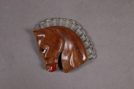 1930's Wood Horse Brooch