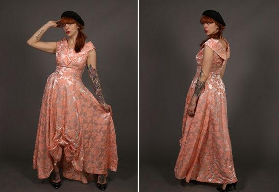1940's Peach Floral Evening Dress -40's Jacquard M