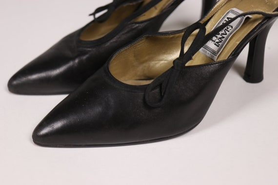 1990's GIANNI VERSACE Black Pointy Shoes - 90's B… - image 4