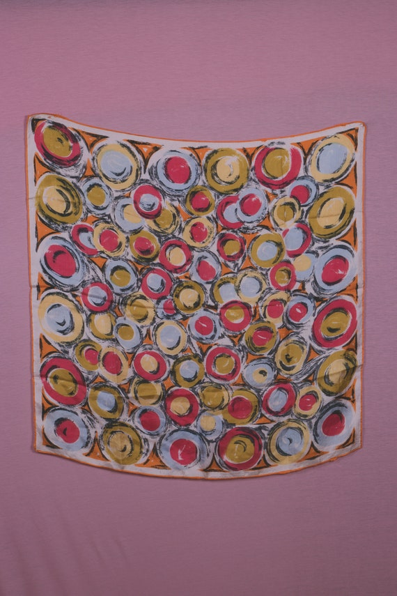 1940's Colorful Swirl Motif Silk Scarf
