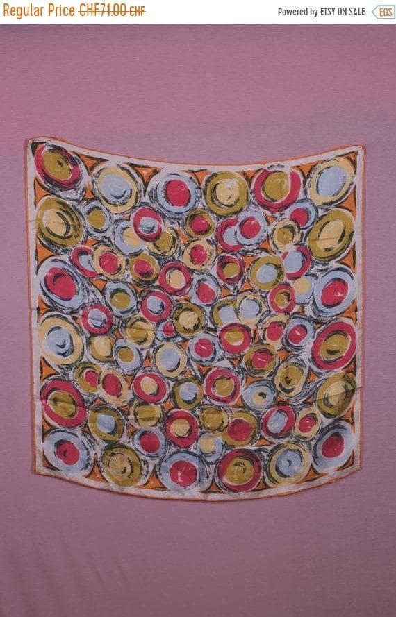 ON SALE - 15% 1940's Colorful Swirl Motif Silk Sca