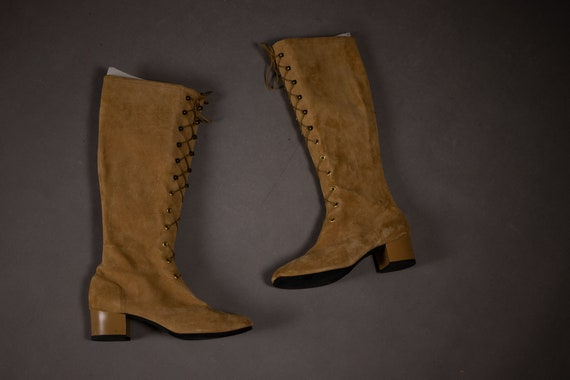 1960's HUSH PUPPIES Tan Suede Leather Gogo Boots … - image 9