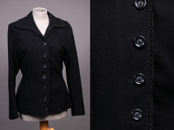 1940's Black Blazer Bakelite Buttons - Size S/M