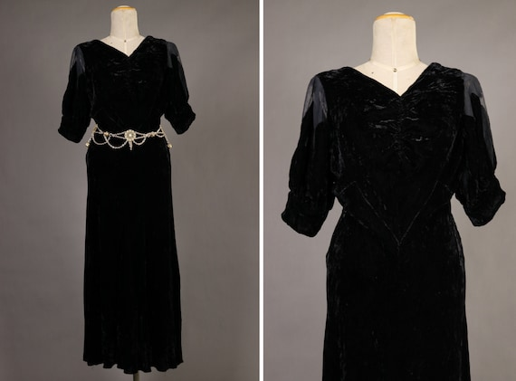 1930's Black Velvet Evening Dress - Size Xs