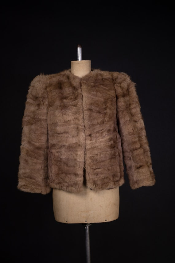 1940's Brown Rabbit Fur Short Coat - 40's Fur Coa… - image 2
