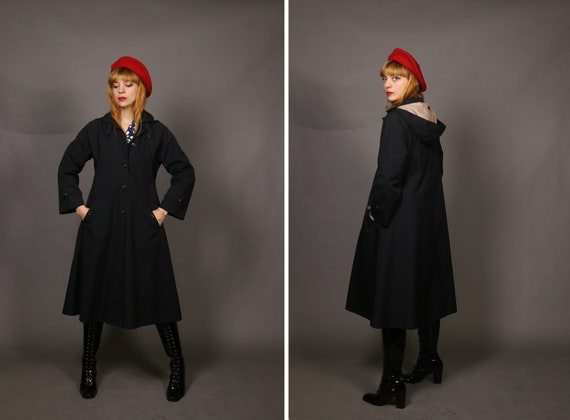 1960's Black Trench Coat with Hoodie - 60's Winter