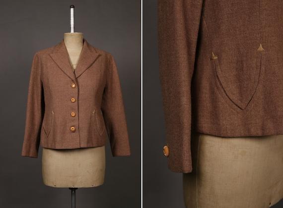 1930's Beige / Pink Tweed Blazer Jacket - Size S