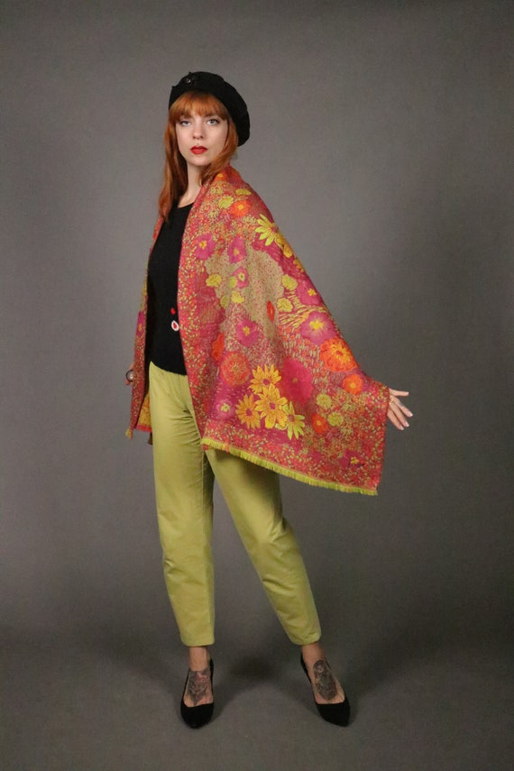 1970's KENZO Large Floral Wool Scarf - image 5