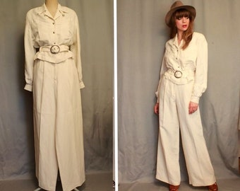 RARE & Luxury THIERRY MUGLER White Linen Pants Suit - 1980's Thierry Mugler Trouser Suit - Size S