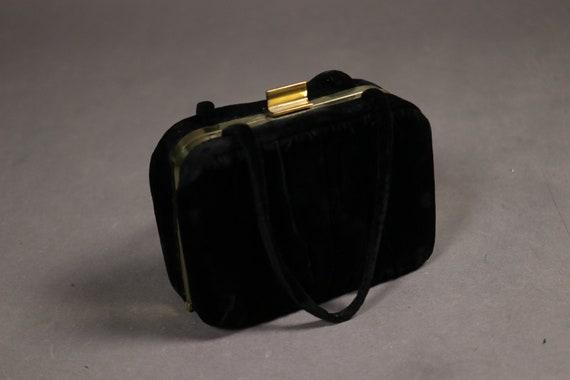 1950's Black Velvet Box Handbag - 50's Black Velve