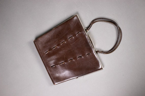1930's Brown Leather Clutch Bag - 1930's Small Lea