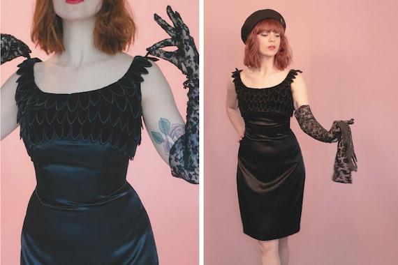 1950's Black Bird Evening Dress - 50's Katja Niebo