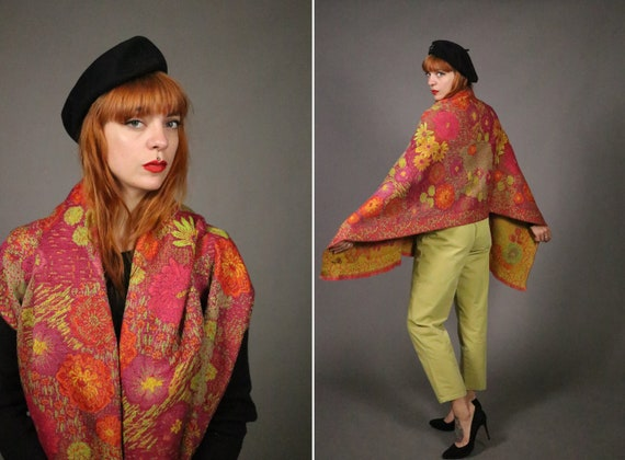 1970's KENZO Large Floral Wool Scarf - image 1