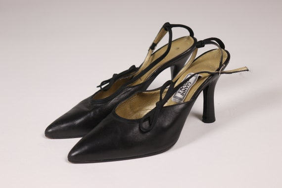 1990's GIANNI VERSACE Black Pointy Shoes - 90's B… - image 6