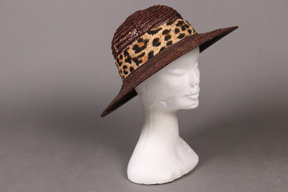 vintage Brown Straw Hat with Leopard Band - 80's … - image 5