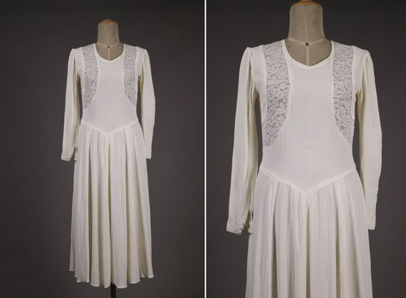 1930's Rayon and Lace White Wedding Dress