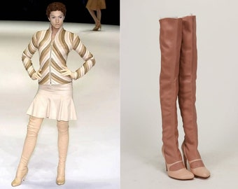 Alexander McQueen nude leather thigh high comma heel boots A/W 2004