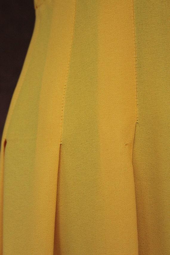 1970's Mini Yellow Crepe Dagger Collar Dress - 70… - image 2