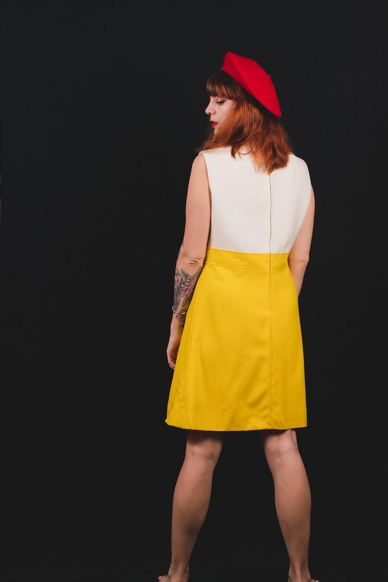 Size M 1960/'s White and Yellow Modissa Dress 60/'s Mod Girl Dress