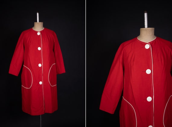 1960's Mod Girl Red and White Coat -  60's Red Lon