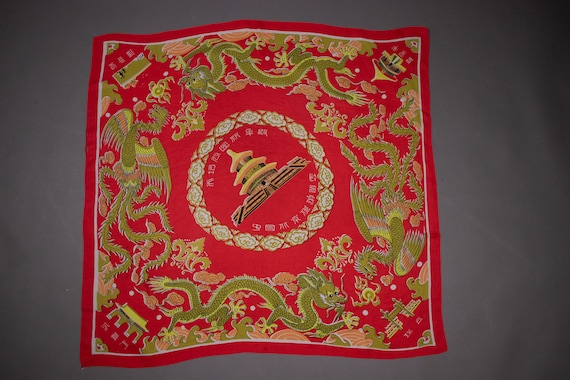1940's Dragon Motif Silk Scarf - 40's Dragon Novel