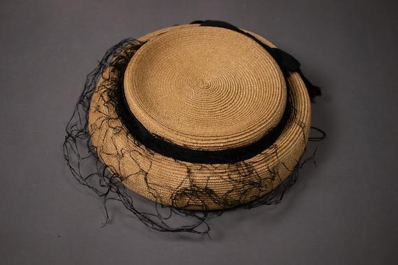 1950's Side Straw Hat - 50's Straw Elegant Summer… - image 6
