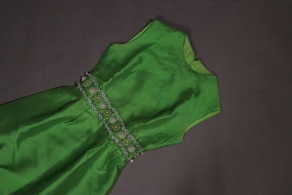 1960's Maxi Green Silk Dress - 60's Evening Long G
