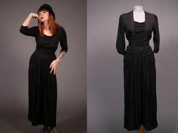 1930's Black Rayon Evening Dress - 30's Long Black