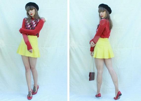 1960's Yellow Mini Cotton and Rayon Skirt - 60's P