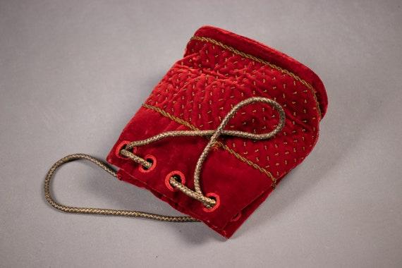 1910's 1920's Red Velvet and gold Bouillon Purse -