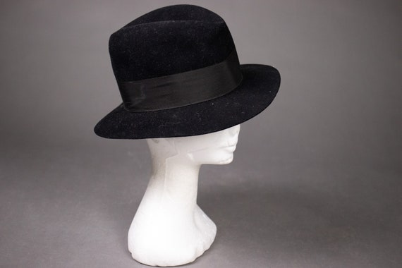 1930's Black Fedora Hat UCF Ryn'h - 30's Black Fed