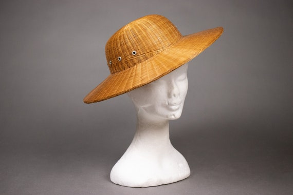 1940's Colonial hat sturdy straw hat - 1940's Colo