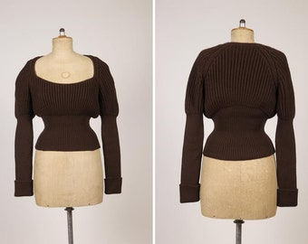 GUCCI Gigot Sleeves Brown Wool Knitted Sweater - Size L