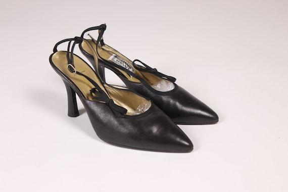 1990's GIANNI VERSACE Black Pointy Shoes - 90's B… - image 1