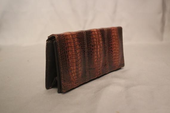 1950's Brown Exotic SKin Clutch Bag