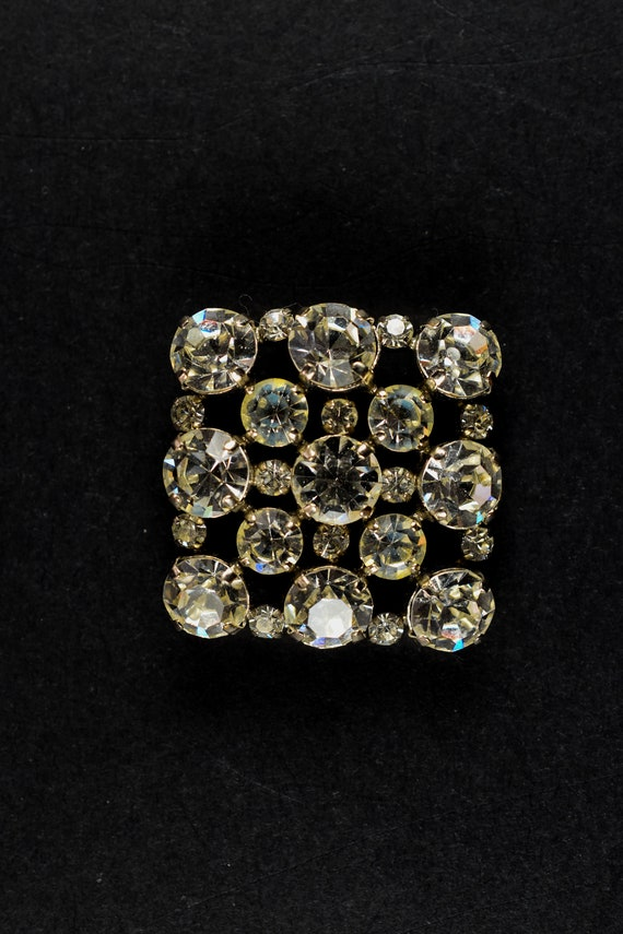 1930's Rectangular Crystal Brooch
