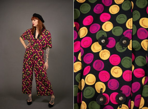 1980's Rayon Polka Dot Jumpsuit - 80's Colorful Wi