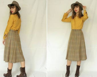 1970's BURBERRYS Plaid Skirt - Burberrys High Waisted Skirt - Size S