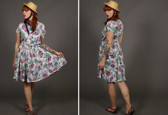 1940's Colorful Floral Rayon Dress - 40's Summer D