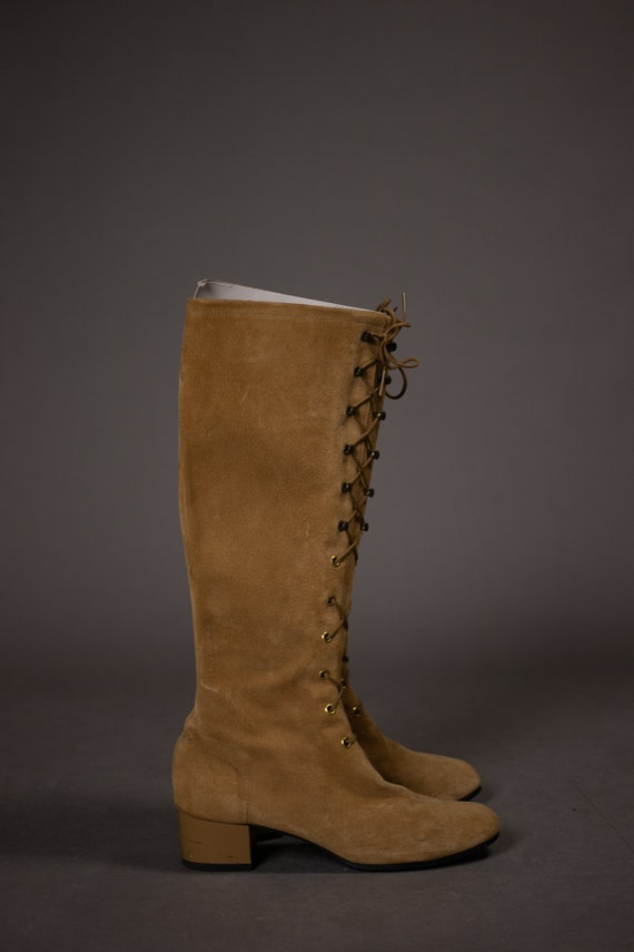 1960's HUSH PUPPIES Tan Suede Leather Gogo Boots … - image 2
