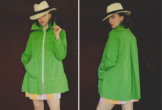 1970's Green Dagger Collar Spring Coat - Size S/M