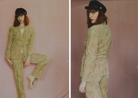 Etienne Aigner Velvet/Corduroy Paisley Suit - Size